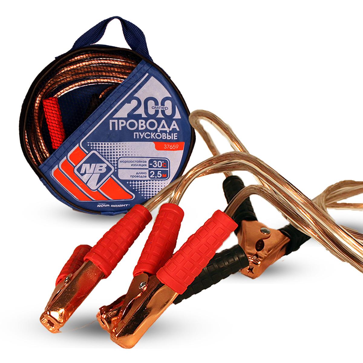 Провода вспомогательного запуска Nova Bright, морозостойкие, с прозрачной изоляцией, 200 А, 37659, разноцветный, 2,5 м провода пусковые zebra 200а