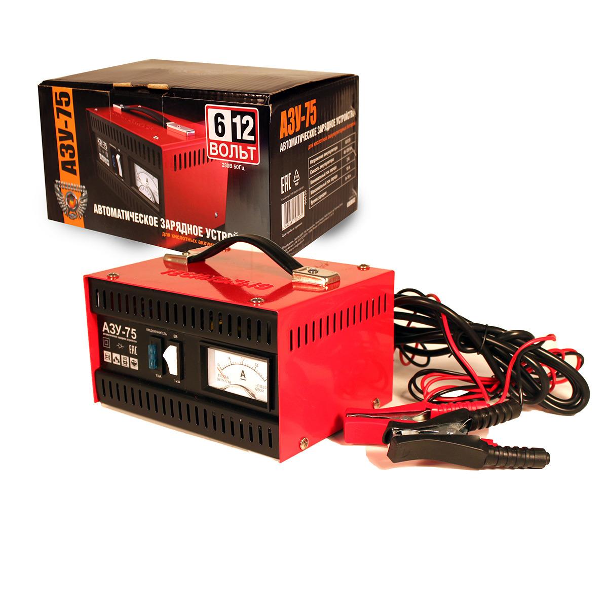 Автомобильное зарядное устройство Technoking АЗУ-75, для аккумуляторов 6/12 В, 10 А, 44439, красный зарядное устройство technoking азу 75 для аккумуляторов 6 12в 10а
