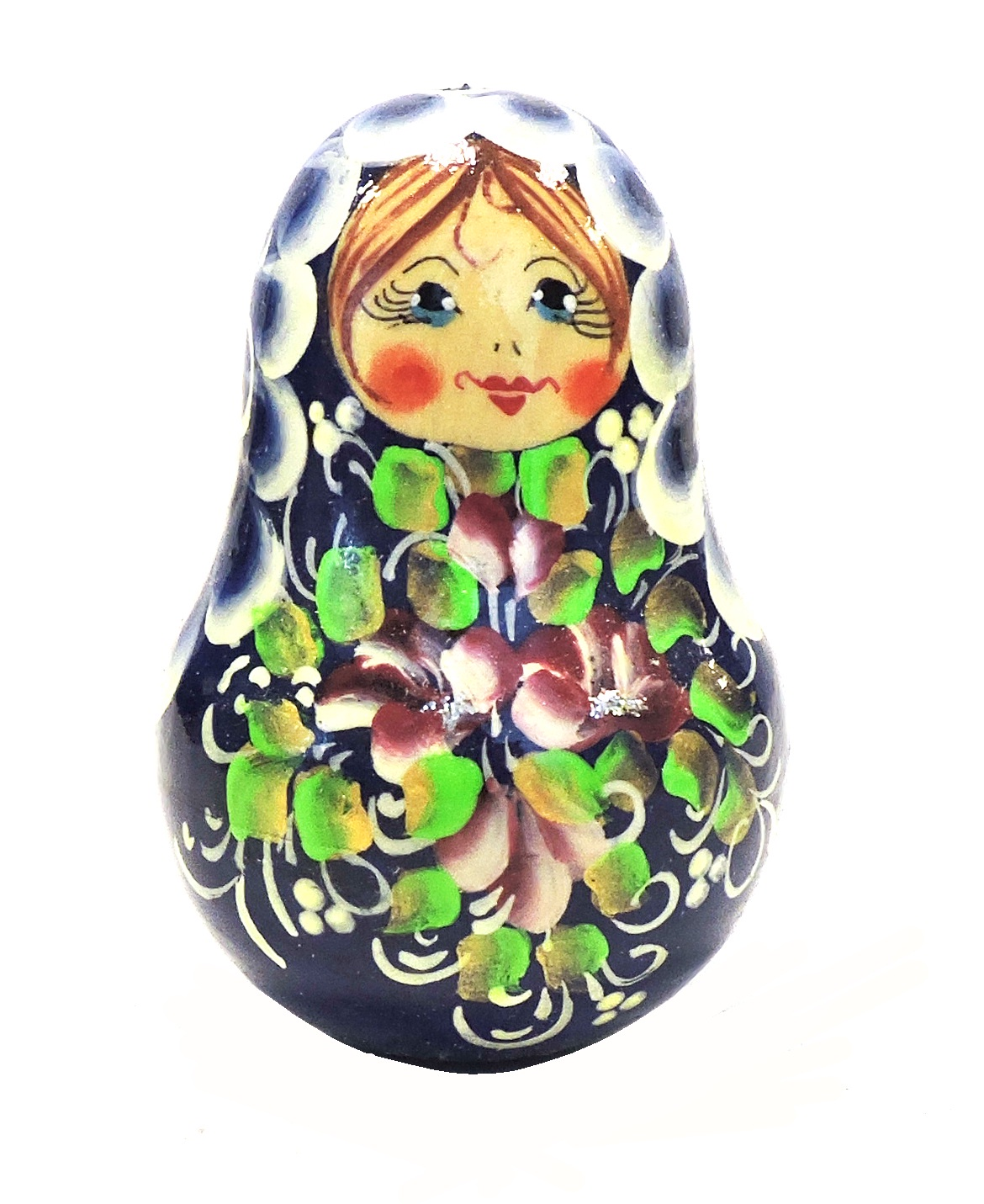 Неваляшка. Девочка синяя с бордовыми цветками