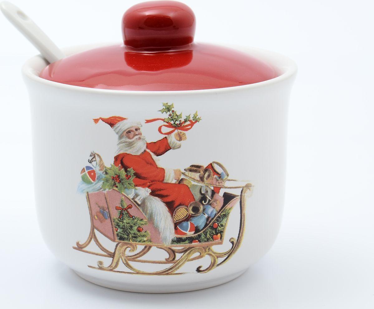 Сахарница Royal Classics, 31614, с ложкой, белый, красный, 250 мл цены онлайн