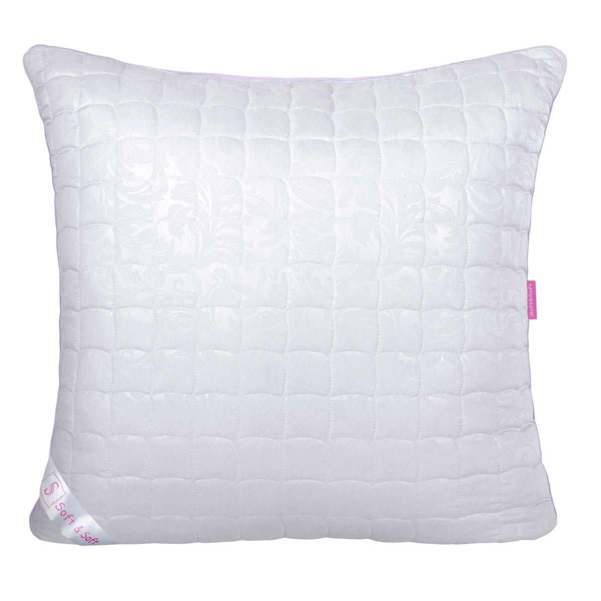 dedc263d030d Подушка Традиция Soft&Soft Лебяжий пух, 2171, белый, микрофибра с  тиснением, 70х70 см