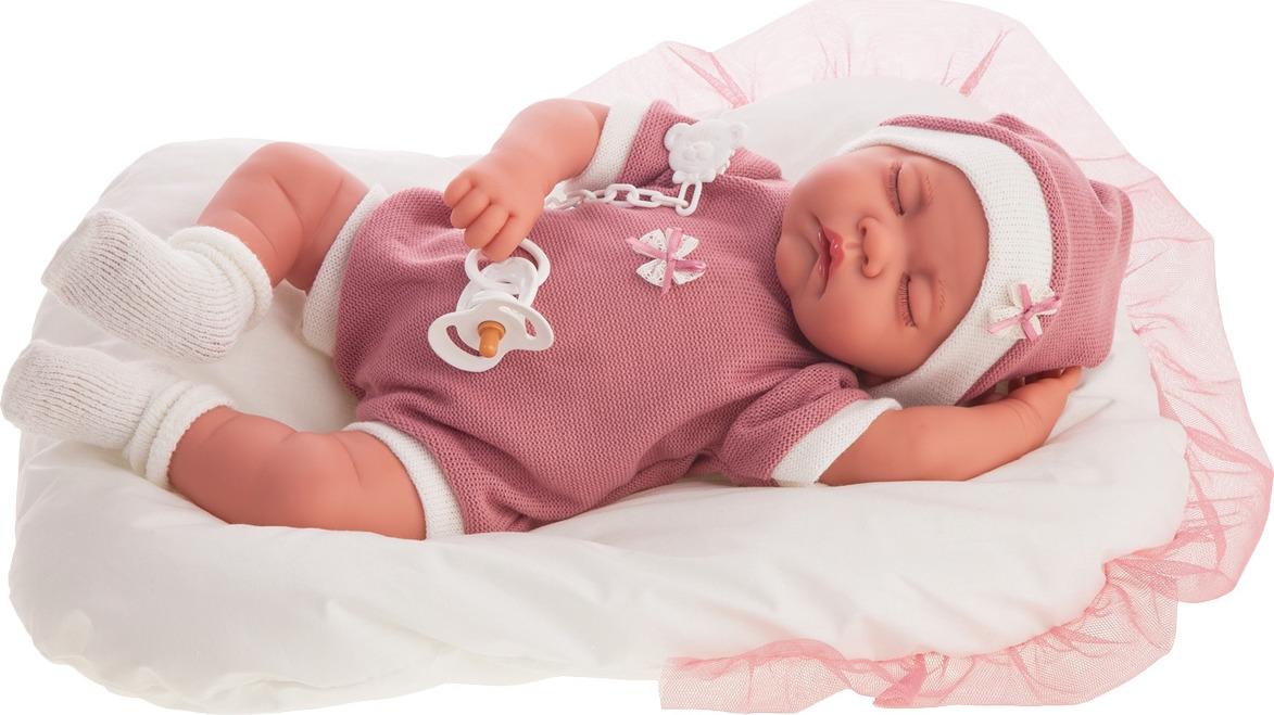 Кукла Munecas Antonio Juan Лана спящая, 3380P, розовый кукла лана брюнетка juan antonio 27 см 1112br