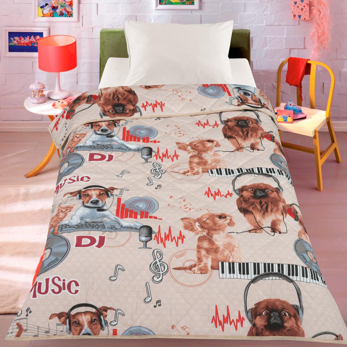 Покрывало детское Letto Собака диджей, dog-dj140, бежевый, 140 х 200 см покрывало letto pp54 бежевый 240 х 210 см