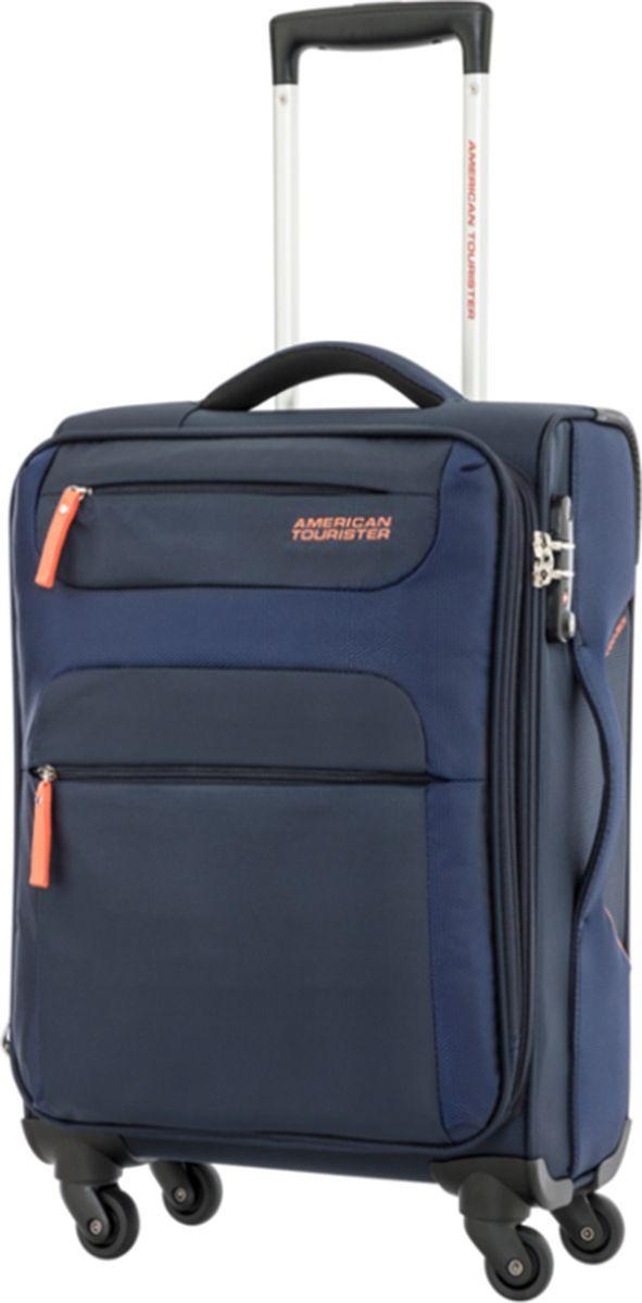 Чемодан American Tourister, 26R-71001, четырехколесный, синий, оранжевый, 35 л