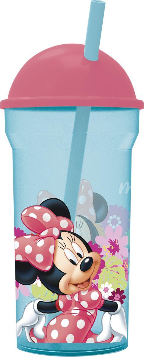 Стакан Stor Минни Маус Цветы, с соломинкой и крышкой, 14588, прозрачный, 460 мл стакан stor микки маус символы с соломинкой и крышкой 22030 синий 430 мл