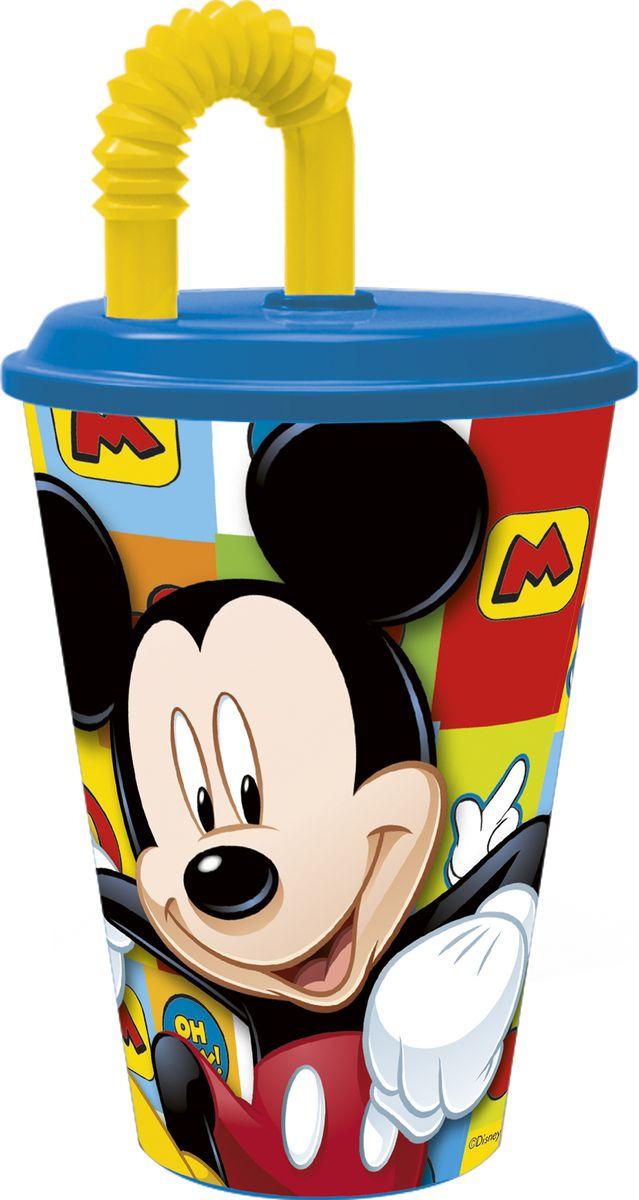 Стакан Stor Микки Маус Символы, с соломинкой и крышкой, 22030, синий, 430 мл стакан stor принцесса софия с соломинкой и крышкой 82330 фиолетовый 430 мл