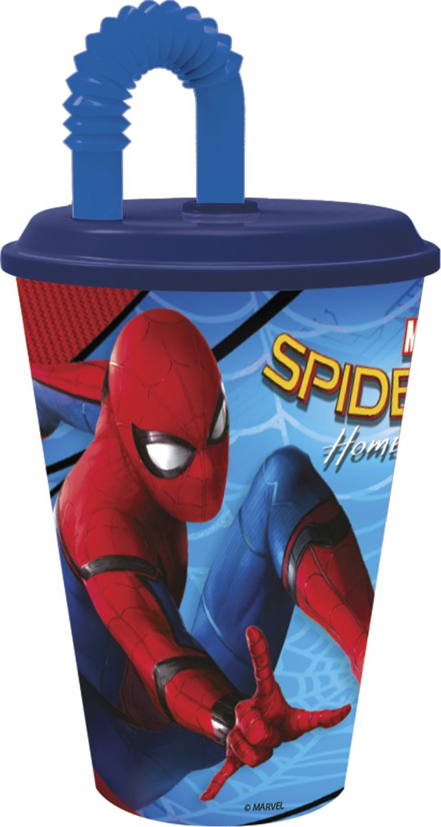 Стакан Stor Человек-паук 2017, с соломинкой и крышкой, 22330, синий, 430 мл стакан stor принцесса софия с соломинкой и крышкой 82330 фиолетовый 430 мл