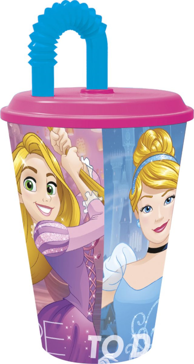 Стакан Stor Принцессы Дружные приключения, с соломинкой и крышкой, 33230, розовый, 430 мл стакан stor принцесса софия с соломинкой и крышкой 82330 фиолетовый 430 мл