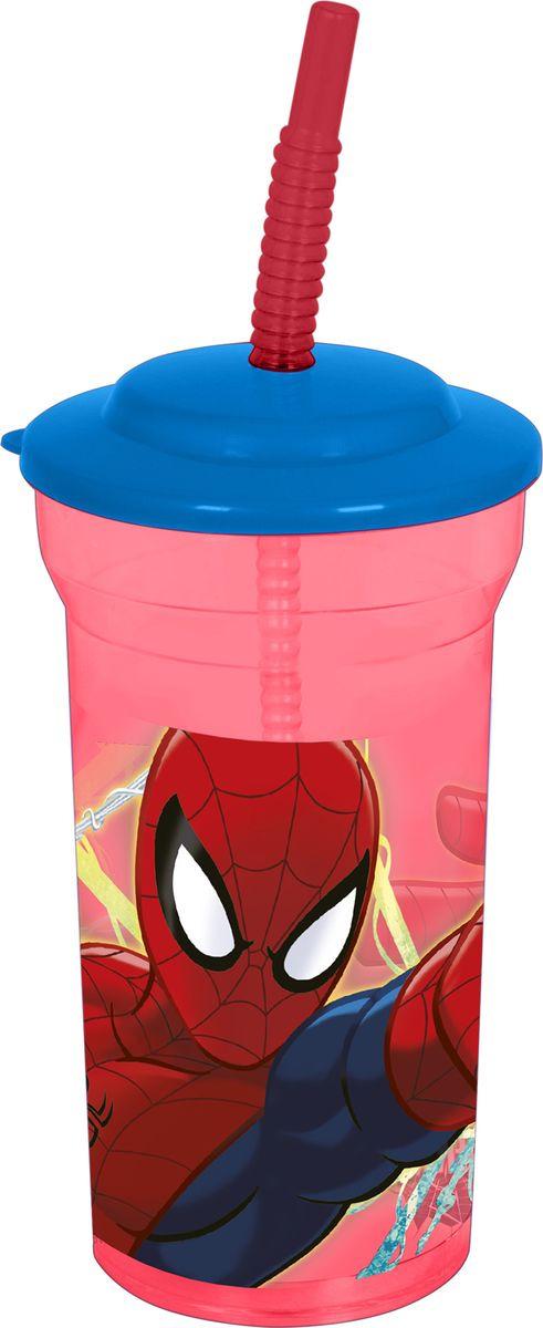 Стакан Stor Человек-паук Красная паутина, с соломинкой и крышкой, 33408, прозрачный, 460 мл стакан stor человек паук 2017 с соломинкой и крышкой 22330 синий 430 мл