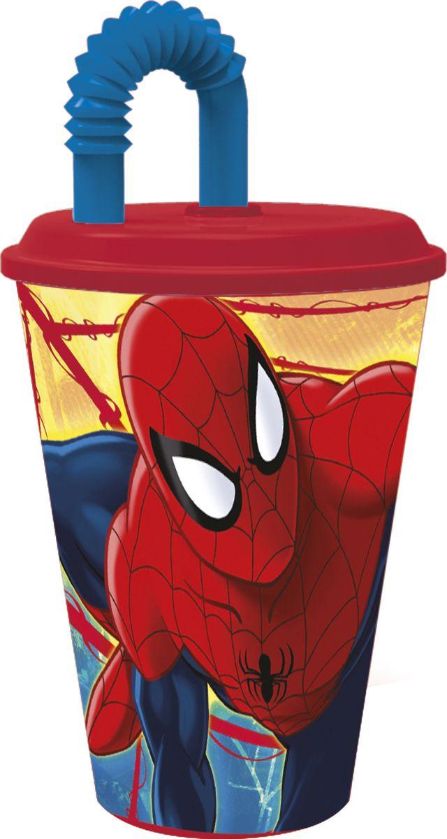 Стакан Stor Человек-паук Красная паутина, с соломинкой и крышкой, 33430, красный, 430 мл стакан stor принцессы дружные приключения с соломинкой и крышкой 33230 розовый 430 мл
