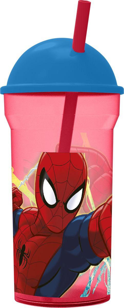 Стакан Stor Человек-паук Красная паутина, с соломинкой и крышкой, 33488, прозрачный, 460 мл стакан stor принцессы дружные приключения с соломинкой и крышкой 33230 розовый 430 мл