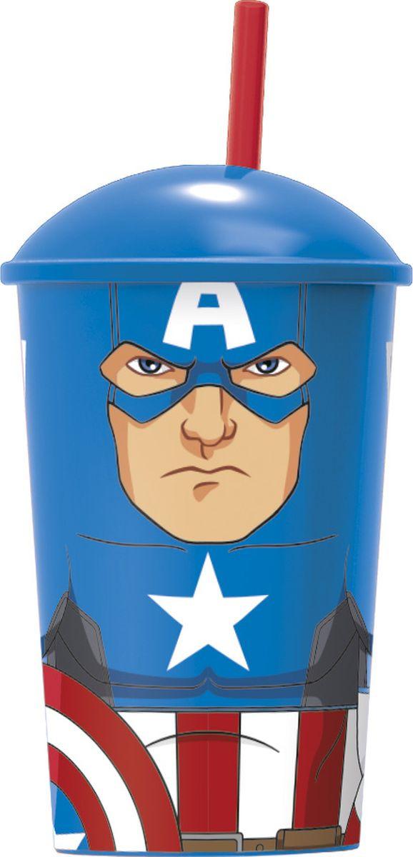 Стакан Stor Мстители Капитан Америка, с соломинкой и крышкой, 53840, синий, 400 мл стакан stor принцессы дружные приключения с соломинкой и крышкой 33230 розовый 430 мл
