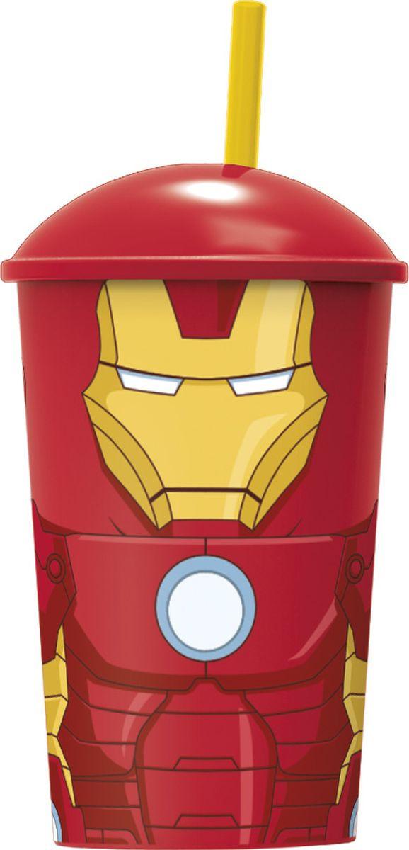 Стакан Stor Мстители Железный человек, с соломинкой и крышкой, 53841, красный, 400 мл стакан stor суперсемейка 2 с соломинкой и крышкой 8230 красный 430 мл