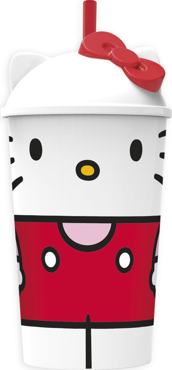 Стакан Stor Hello Kitty Вишневый джем, с соломинкой и крышкой, 54540, белый, 400 мл стакан stor звёздные войны последние джедаи с соломинкой и крышкой 7930 серый 430 мл