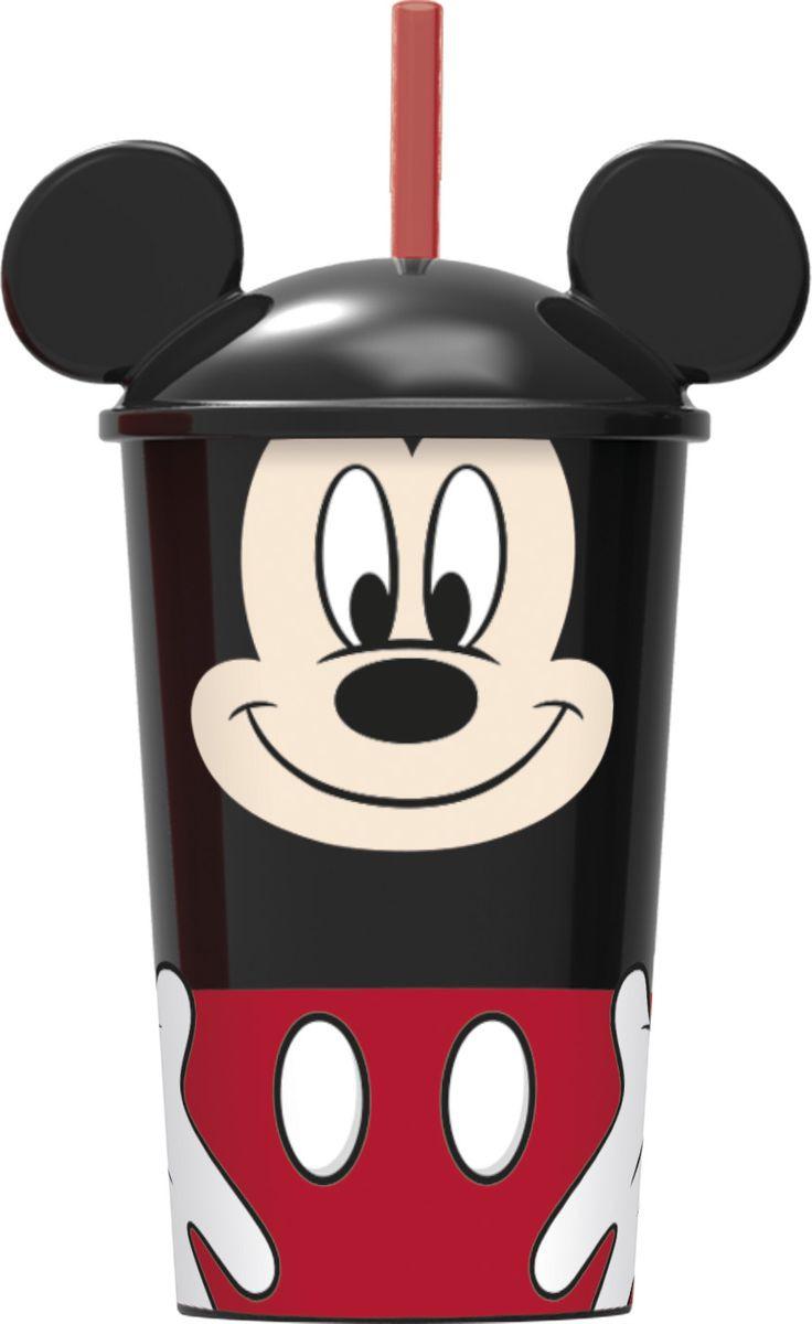 Стакан Stor Микки Маус, с соломинкой и крышкой, 59040, черный, 400 мл стакан stor микки маус символы с соломинкой и крышкой 22030 синий 430 мл