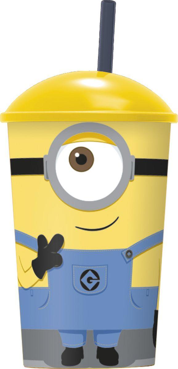 Стакан Stor Миньоны, с соломинкой и крышкой, 76170, желтый, 400 мл стакан stor звёздные войны последние джедаи с соломинкой и крышкой 7930 серый 430 мл