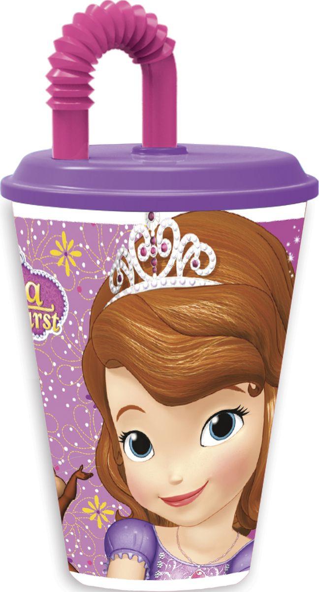 Стакан Stor Принцесса София, с соломинкой и крышкой, 82330, фиолетовый, 430 мл стакан stor принцесса софия с соломинкой и крышкой 82330 фиолетовый 430 мл