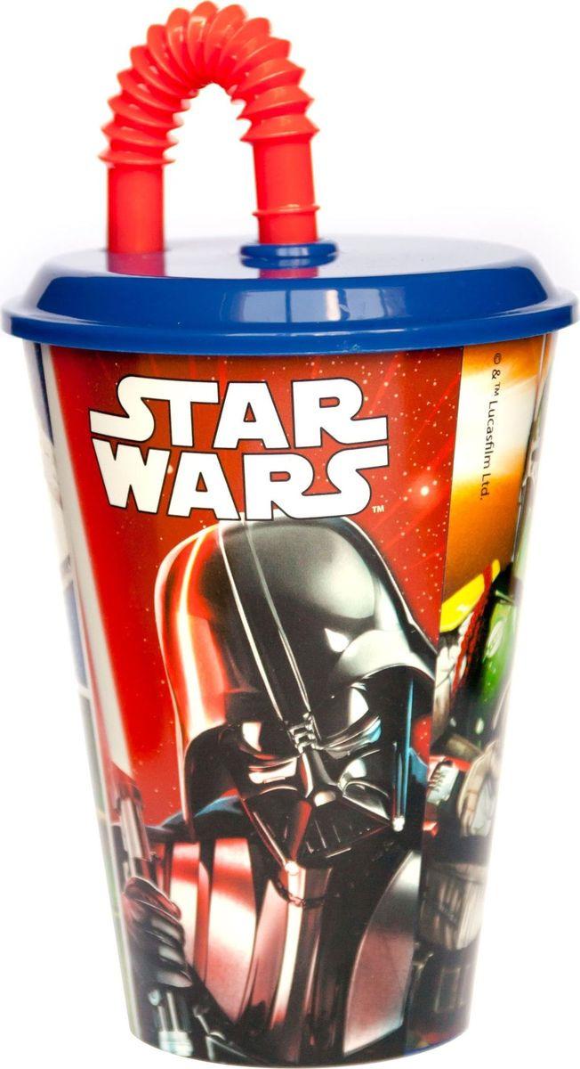 Стакан Stor Звёздные войны Классика, с соломинкой и крышкой, 82430, синий, 430 мл стакан stor принцесса софия с соломинкой и крышкой 82330 фиолетовый 430 мл
