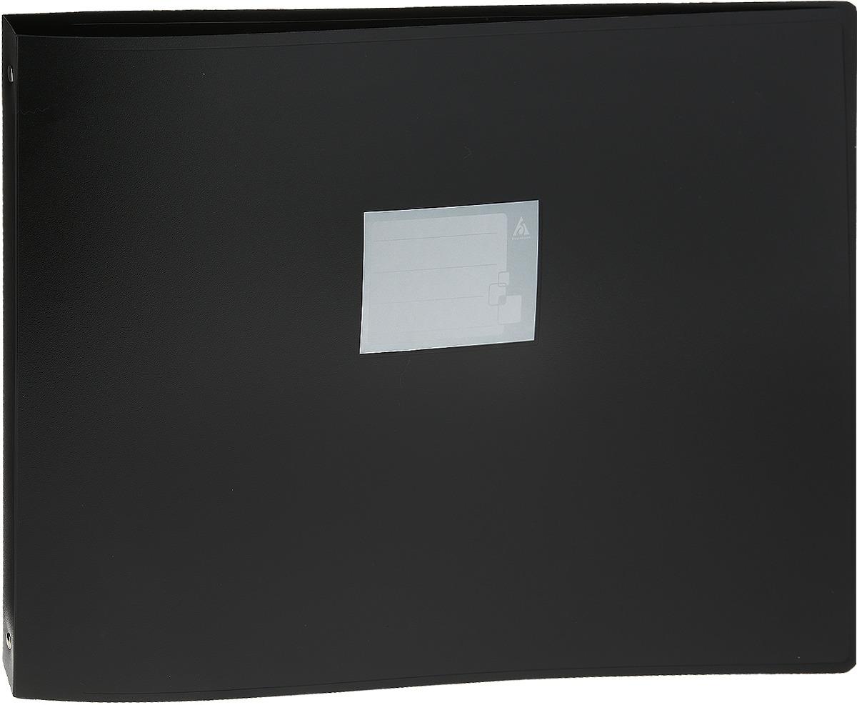 Папка Бюрократ, на 4-х D-кольцах, формат А3, цвет: черный папка на 4 х d кольцах бюрократ black
