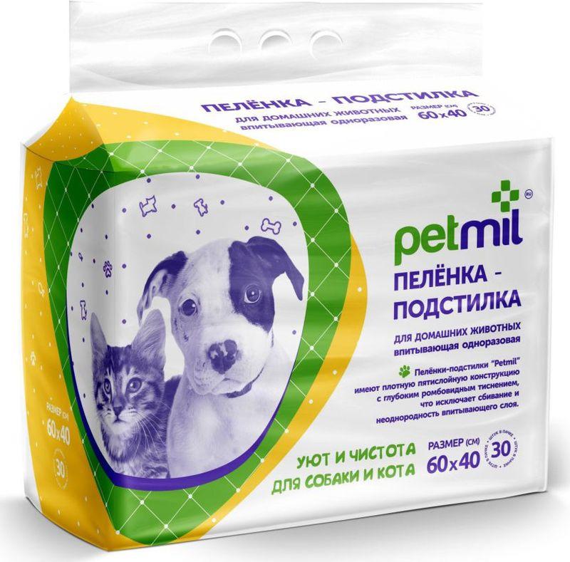 Пеленка-подстилка для животных Petmil, впитывающая, одноразовая, 60 х 40 см, 30 шт приют для животных на югле