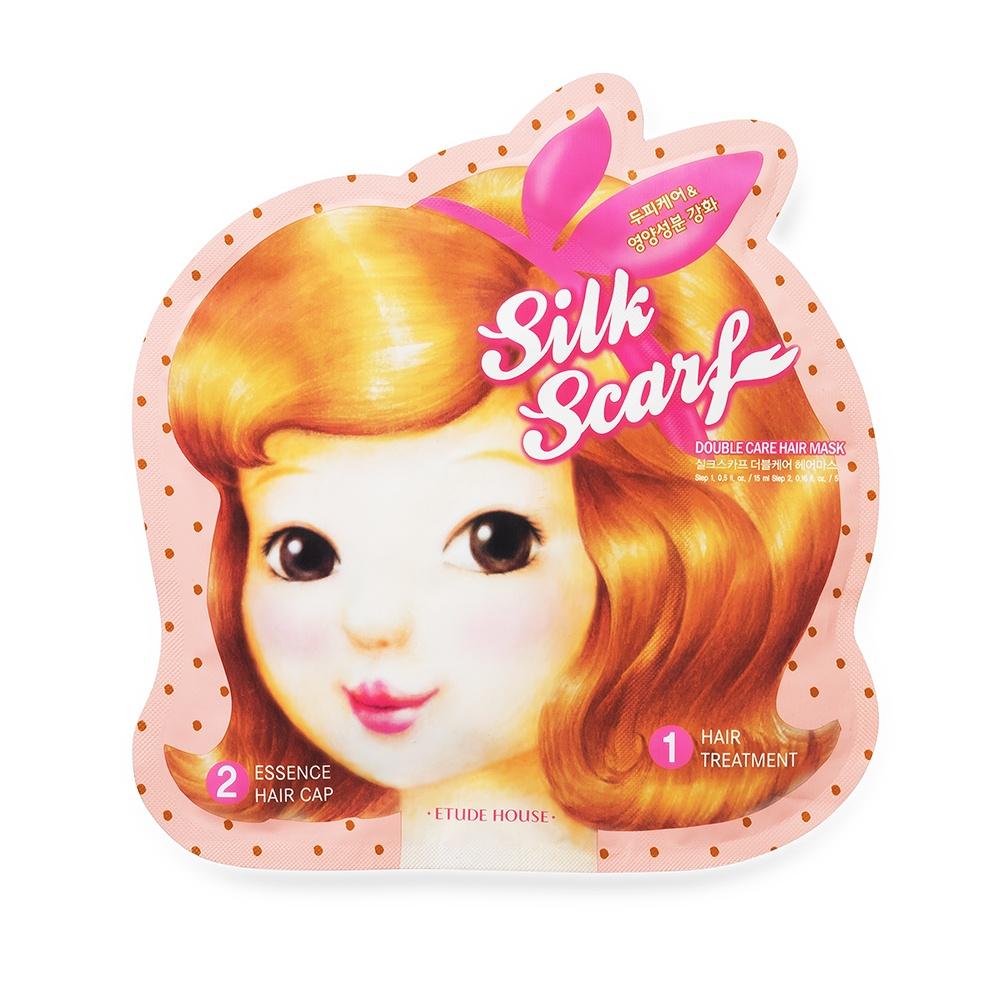 Маска-шапочка для волос Etude House Silk Scarf Double Care восстанавливающая, 20 гEtude_20Маска, выполненная в виде удобной шапочки, вернет волосам силу и восстановит их после негативных воздействий. Она насыщает локоны влагой и полезными элементами, устранит повреждения, подарит живое сияние. Основными ингредиентами Silk Scarf Double Care Hair Mask являются керамиды, натуральные масла и комплекс травяных экстрактов. Травы напитывают волосы витаминами, стимулируют их рост и укрепляют луковицы. Масла полируют локоны и предупреждают их ломкость. Жожоба образует на каждом волоске тончайшую пленку, которая оберегает их от внешних воздействий, интенсивно увлажняет, устраняет сечение кончиков и предотвращает выпадение волос. Календула укрепляет их структуру, уменьшает жирность, успокаивает раздражения. Керамиды заживляют поврежденные участки, придают волосам мягкость и шелковистость, задерживают влагу внутри. Экстракт грейпфрута избавит от сухости и шелушения, остановит выпадение волос и устранит сечение кончиков. Благодаря ему локоны станут упругими и послушными, будут легче укладываться. Маска компании Etude House – идеальное средство для тусклых и ломких волос. Silk Scarf Double Care Hair Mask вернет им красоту и здоровье, придаст сияющий и ухоженный вид, восстановит после химических воздействий и окрашивания.