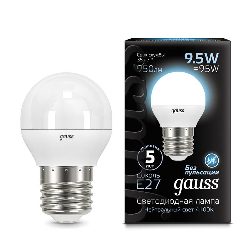 Лампа Gauss LED Шар E27 9.5W 950lm 4100K 1/10/50, 105102210 gauss лампа светодиодная gauss globe шар матовый e27 9 5w 4100k 105102210