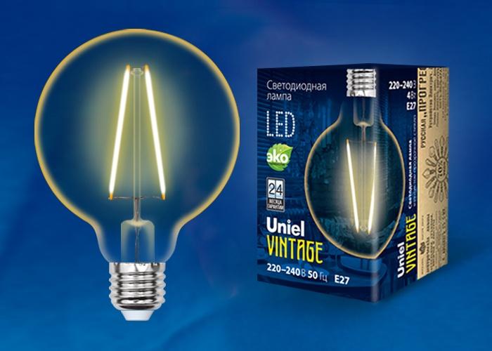 Лампа светодиодная Uniel Vintage LED-G95-4W/GOLDEN/E27, UL-00000850