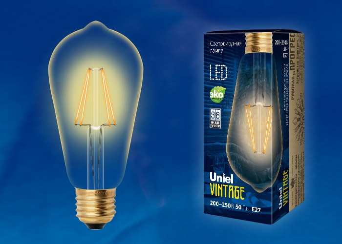 Лампа светодиодная Uniel Vintage LED-ST64-5W/GOLDEN/E27, UL-00002360