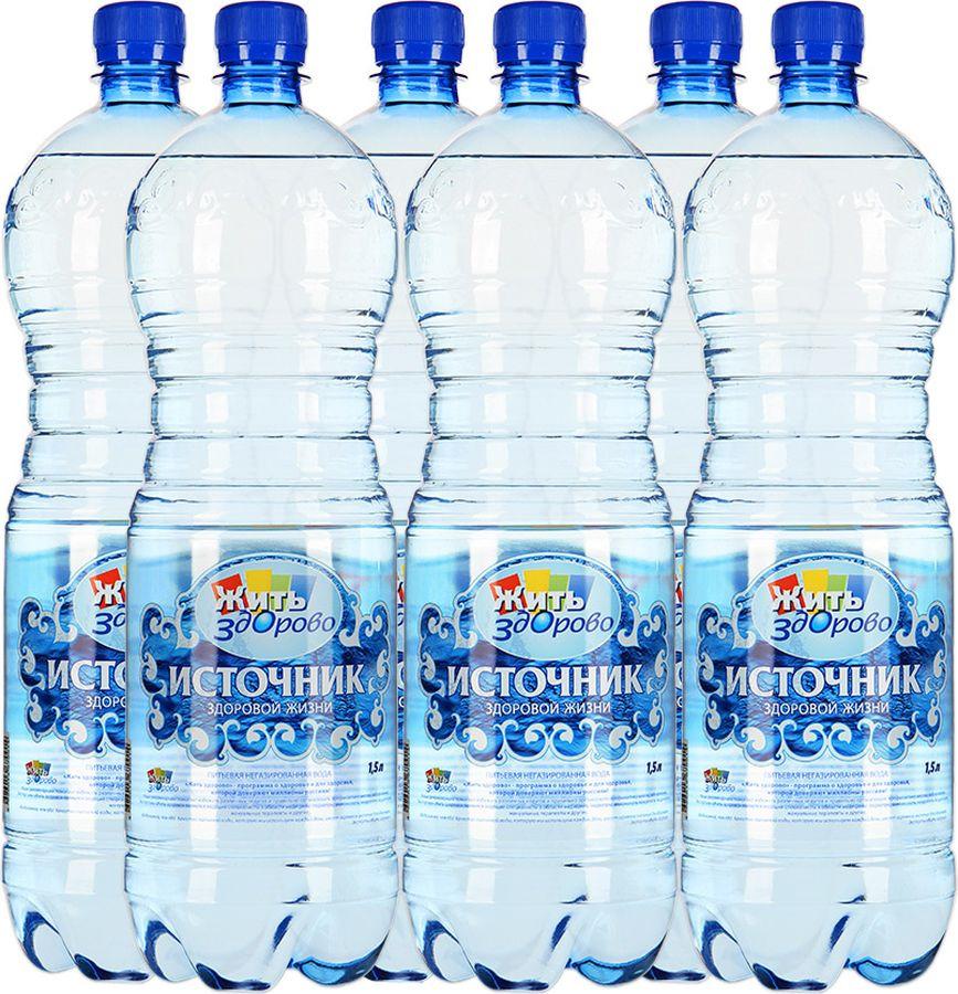 Вода Источник здоровой жизни питьевая негазированная, 6 шт по 1,5 л