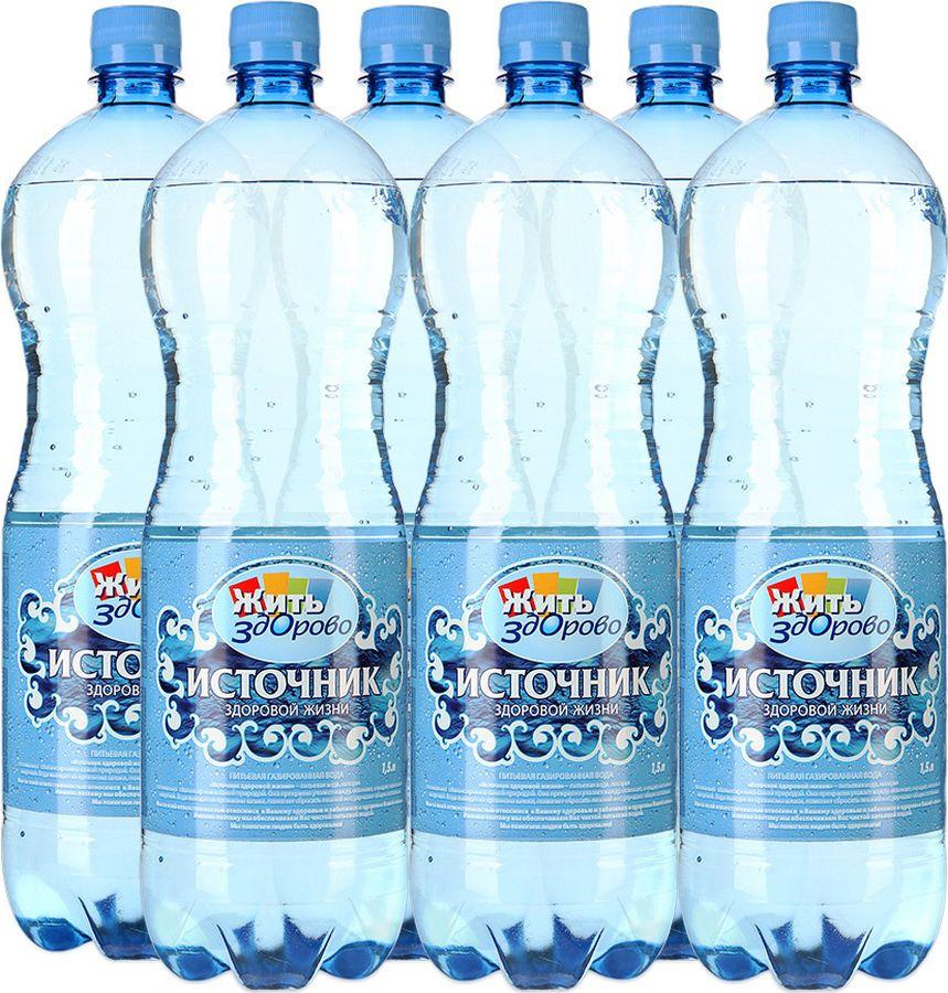 Вода Источник здоровой жизни питьевая газированная, 6 шт по 1,5 л