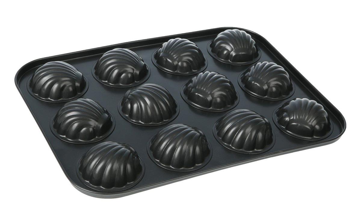 Форма для выпечки Доляна Ракушка, 827556, с антипригарным покрытием, 12 ячеек, 35 х 27 х 3 см форма для выпечки доляна фортуна волнистый круг 3792129 с антипригарным покрытием 27 х 4 5 см