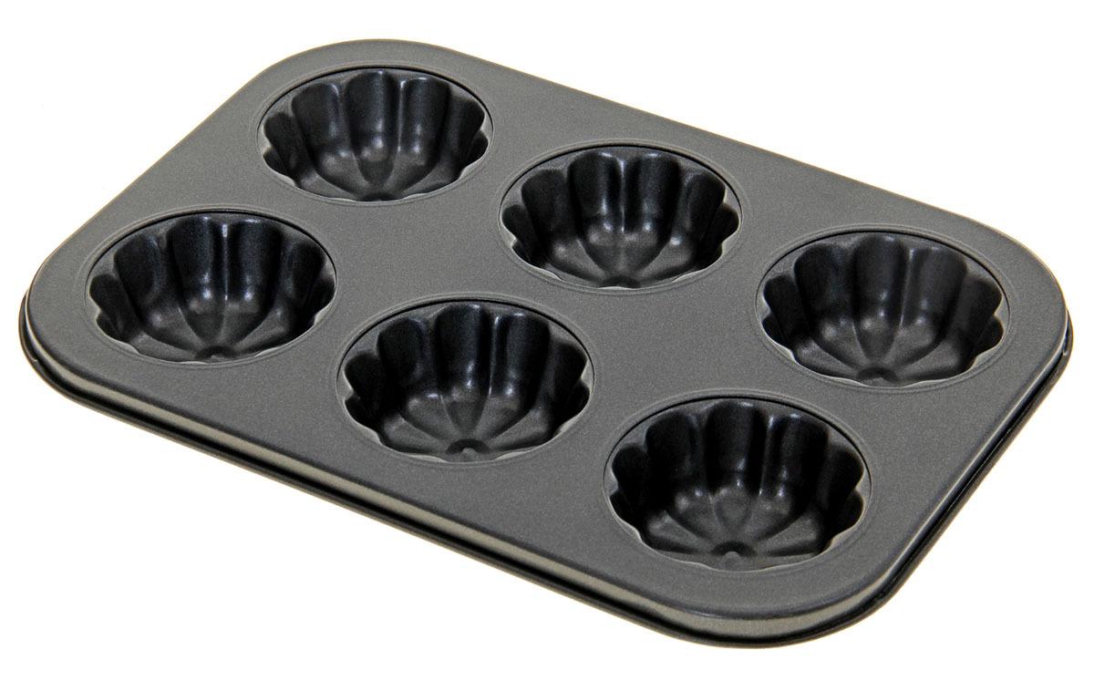 Форма для выпечки Доляна Неженка, 827549, с антипригарным покрытием, 6 ячеек, 27 х 18 х 3 см форма для выпечки доляна фортуна волнистый круг 3792129 с антипригарным покрытием 27 х 4 5 см