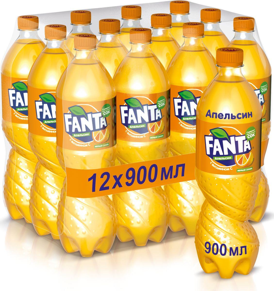 """Напиток сильногазированный Fanta """"Апельсин"""", 12 шт по 0,9 л"""