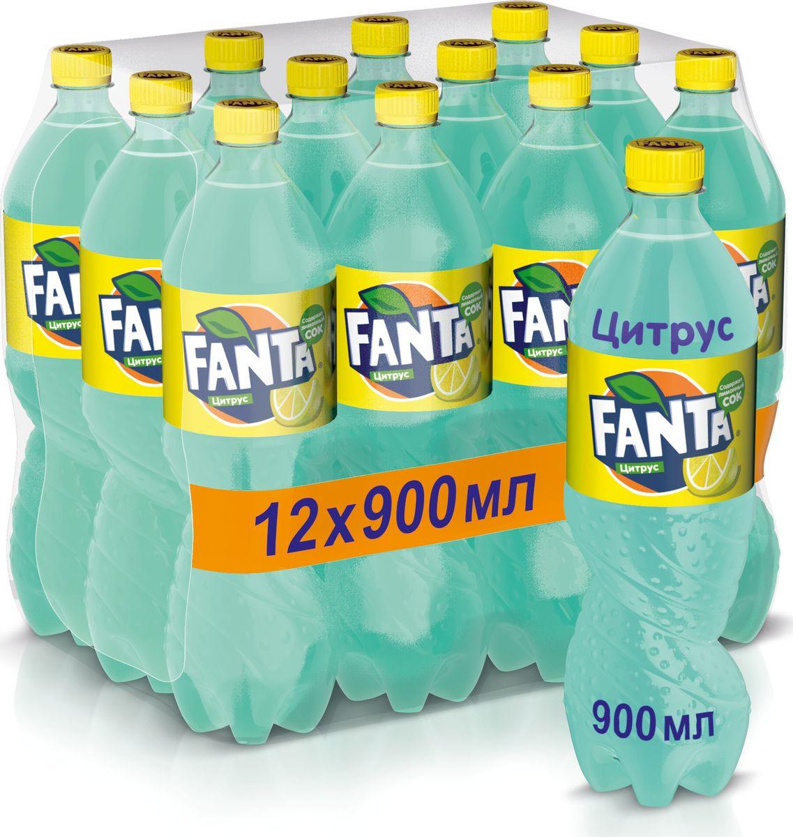 """Напиток сильногазированный Fanta """"Цитрус"""", 12 шт по 0,9 л"""