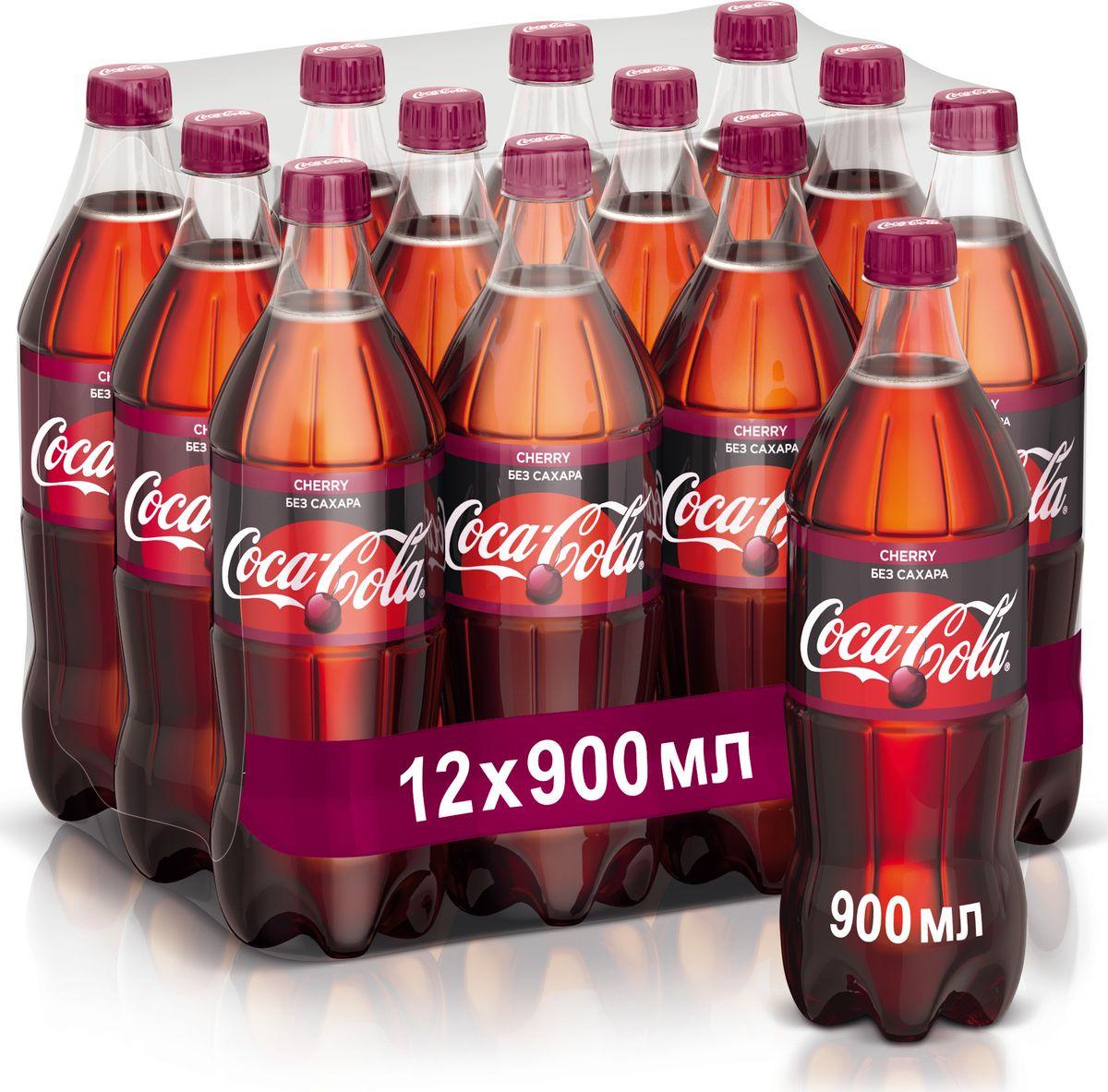Напиток сильногазированный Coca-Cola Cherry Zero, 12 шт по 0,9 л