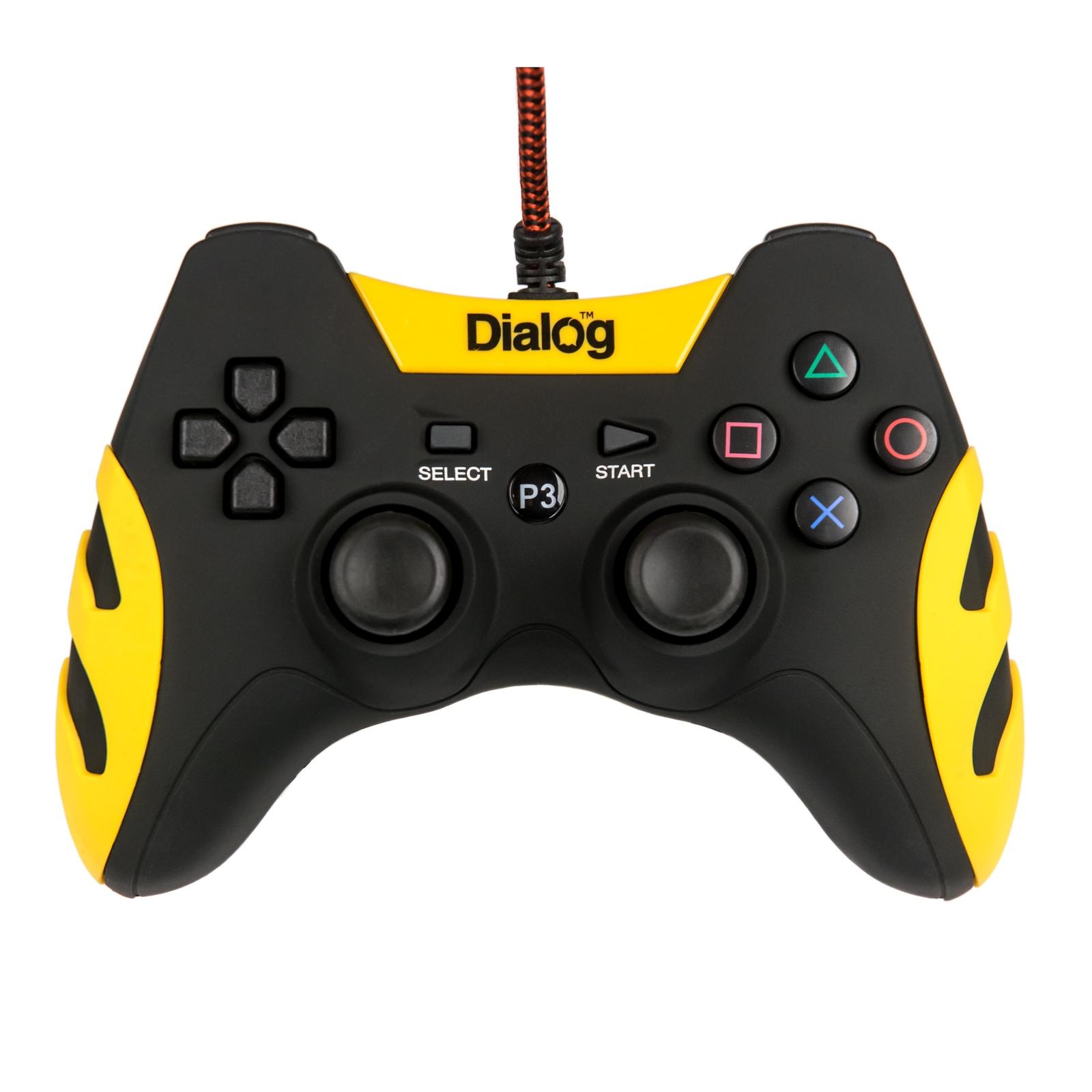 Геймпад DIALOG с эффектом вибрации GP-A21, желтый, черный геймпад dialog gan kata gp a16rf black