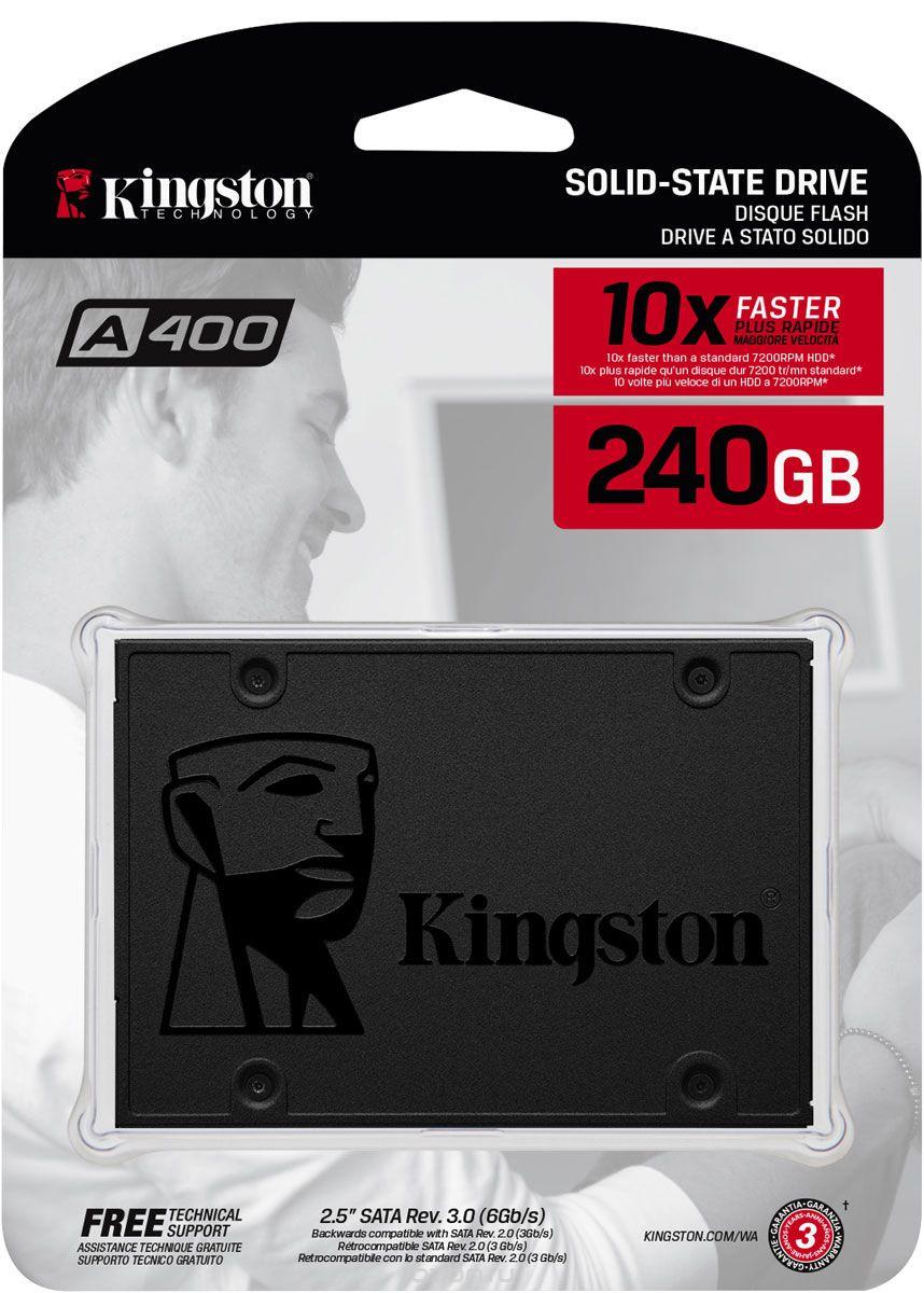 "SSD диск Kingston диск SSD 240GB A400, SATA-III, R/W - 350/500 MB/s, 2.5"", TLC, черный"