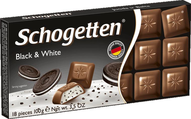 Schogetten Black&White Молочный шоколад с начинкой из ванильного крема и кусочками печенья с какао, 100 г milka шоколад daim молочный шоколад с кусочками миндальной карамели 100 г