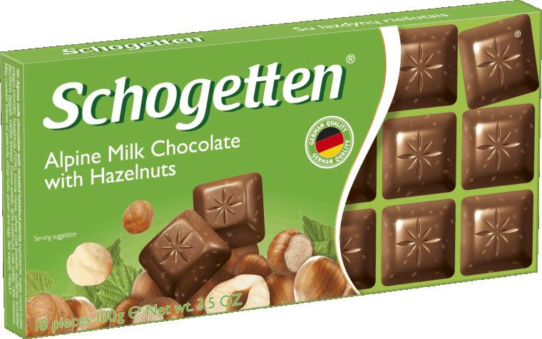 купить Schogetten Milk Chokolate with Hazelnuts Альпийский молочный шоколад с фундуком, 100 г недорого