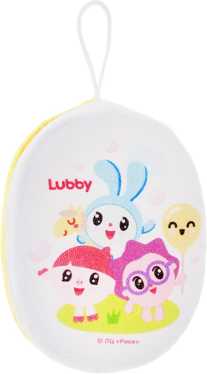 Мочалка Lubby Малышарики 20915, желтая цена