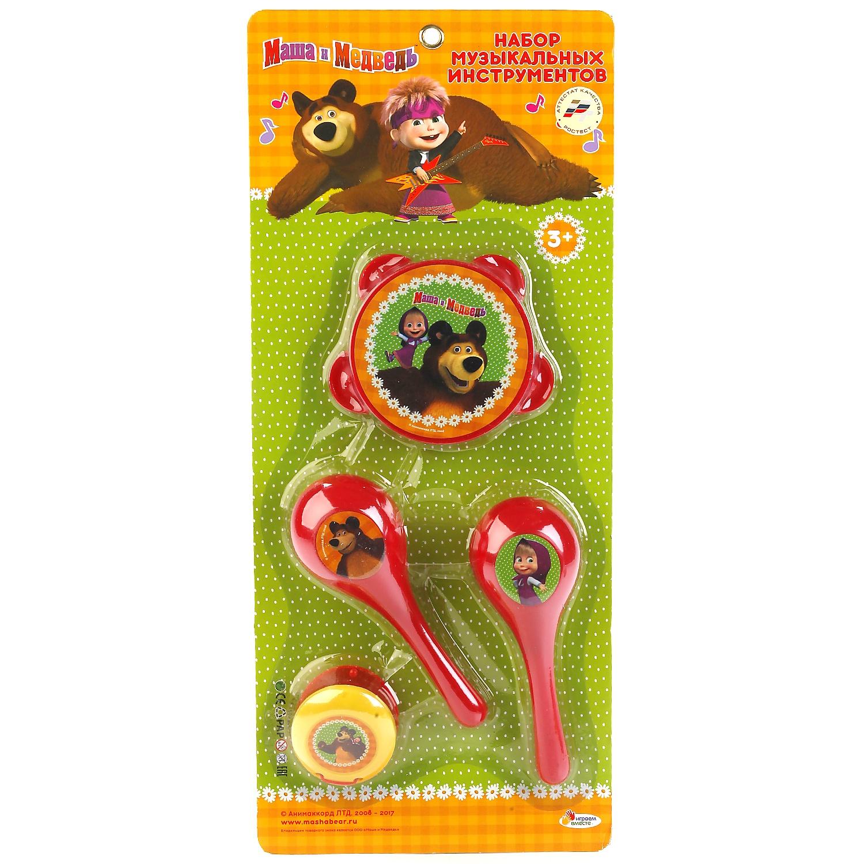 Набор музыкальных инструментов Играем вместе Маша и медведь 242616, разноцветный музыкальные игрушки маша и медведь набор музыкальных инструментов gt5844