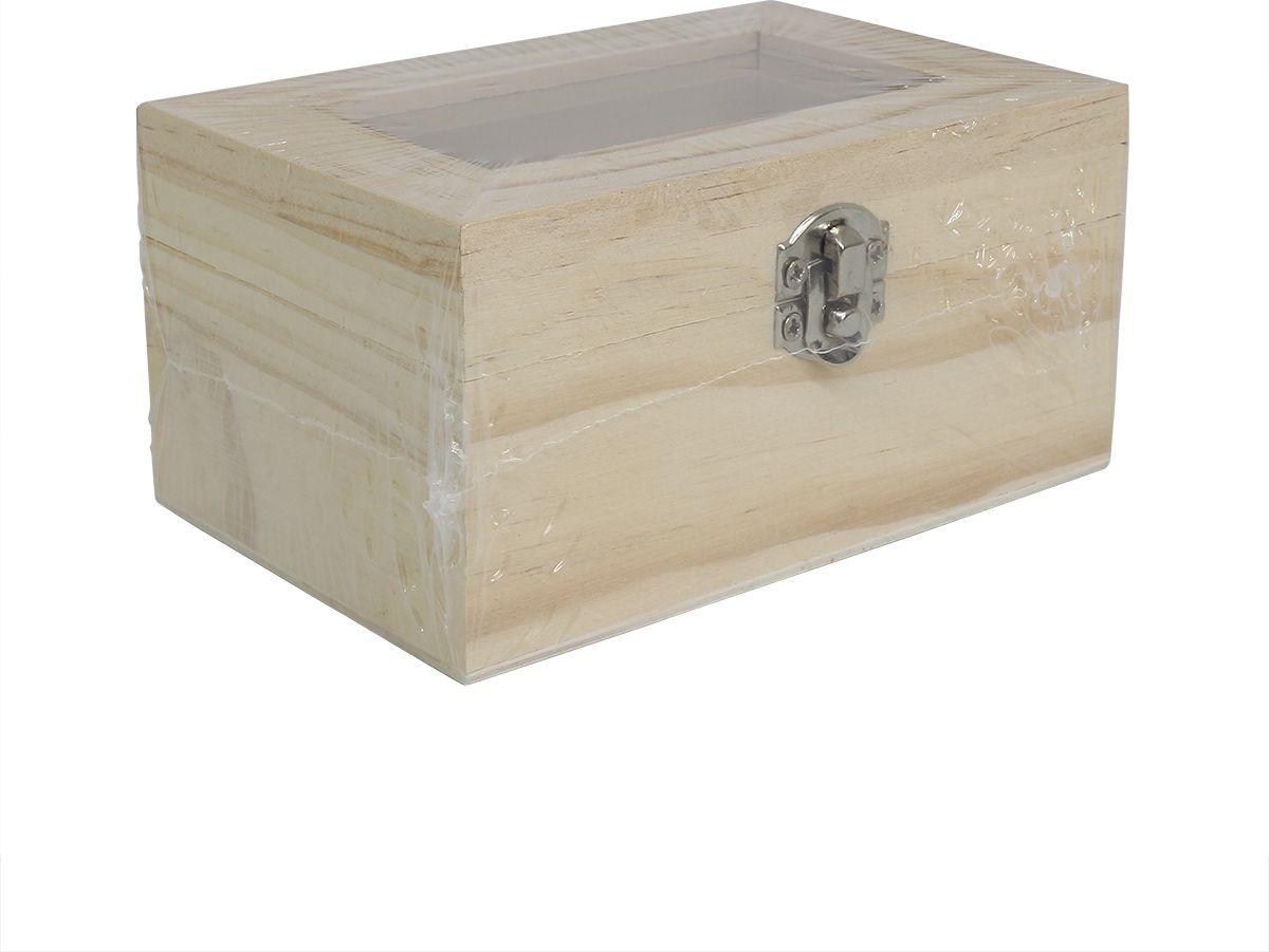 Заготовка для декорирования Glorex Шкатулка со стеклянной вставкой, 318397, 12 х 8 х 6 см деревянная заготовка мини комод с 6 ящиками no name 146309