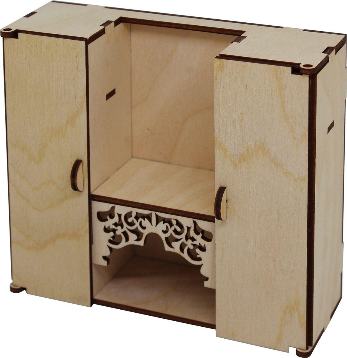 Заготовка для декорирования Астра Шкаф-стенка в гостиную с резной полкой кукольная мебель, 901280, 15 х 13 х 5 см мебель для детской