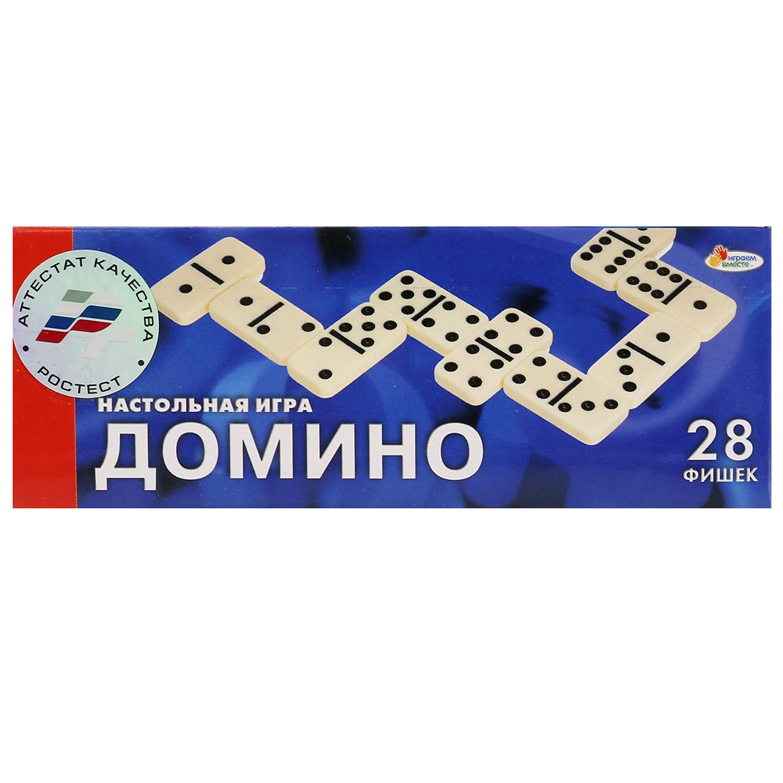 Настольная игра Играем вместе Домино, 256752256752Настольное Домино - популярная игра, которую любят и взрослые, и дети. Данный набор выполнен в классическом дизайне, к которому все привыкли. В комплекте 28 фишек. Задача игроков - продолжать цепочку элементов, составляя половинки с одинаковыми цифрами. Домино полезно тем, что тренирует логику ребёнка, также малыш запомнит цифры. Рекомендовано детям с 3 лет. Набор выполнен из безопасной нетоксичной пластмассы.