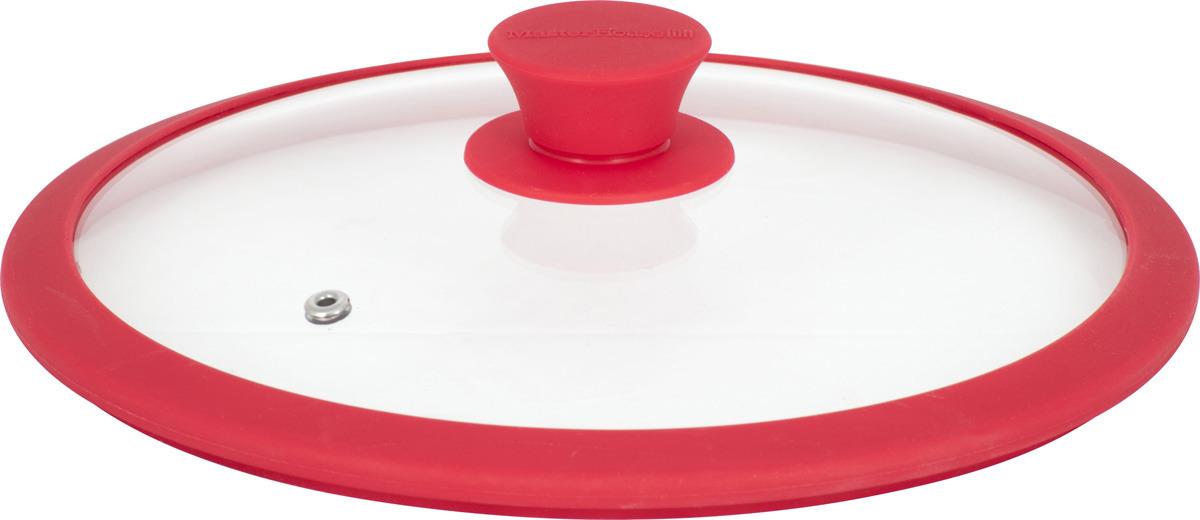 Крышка Master House София, 60558, с силиконовым ободом, красный, диаметр 28 см тортница cosmoplast оазис цвет красный прозрачный диаметр 28 см