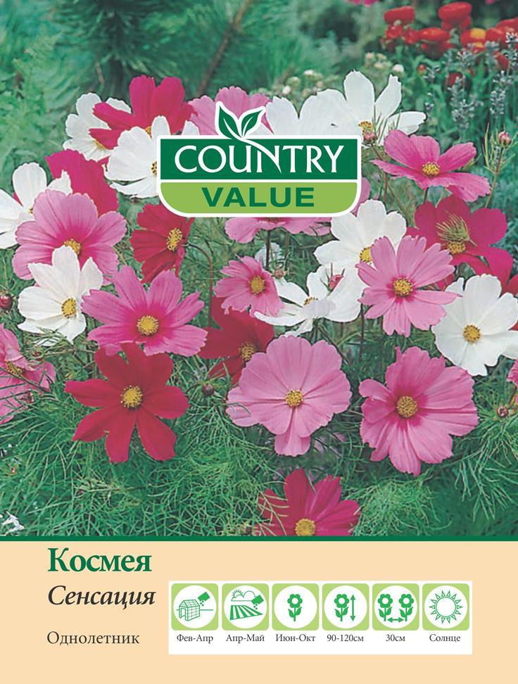 Семена Country Value Космея Сенсация, 20269, 150 шт сад бабочек