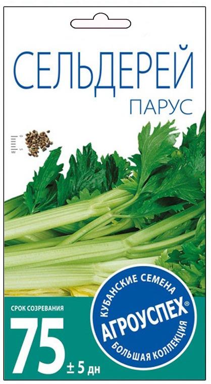 Семена Агроуспех Сельдерей Парус черешковый, 25510, 0,5 г25510СЕЛЬДЕРЕЙ ЧЕРЕШКОВЫЙ ПАРУС Вкусная и ароматная зелень! Сорт среднеспелый (73-80 дней). Розетка листьев полуприподнятая. Лист зелёный, среднеглянцевый. Черешок длинный, пустотелый, слабоизогнутый. Вкусовые качества и ароматичность хорошие. Длительное сохранение товарного вида зелени. Прекрасная устойчивость к цветушности. Рекомендуется к использованию в свежем и сушеном виде в домашней кулинарии. УСЛОВИЯ ВЫРАЩИВАНИЯ: выращивается рассадным способом. Семена перед посевом проращивают в мокрой ткани при комнатной температуре 6 дней. Рассаду высаживают в грунт в возрасте 60 дней. Культура холодостойкая, свето- и влаголюбивая. Размещают на легких, плодородных, водопроницаемых почвах. Рекомендуем!