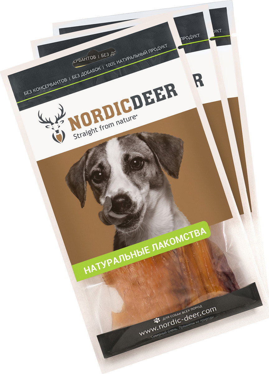 Лакомство для собак Nordic Deer Сухожилия говяжьи, 4610030881171, 3 шт по 40 г титбит лакомство сухожилия говяжьи большие для собак titbit dent 1 уп