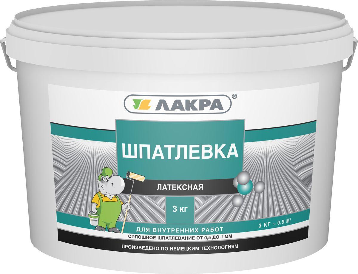 цена на Шпатлевка Лакра латексная, для внутренних работ, 4603292014067, белый, 3 кг