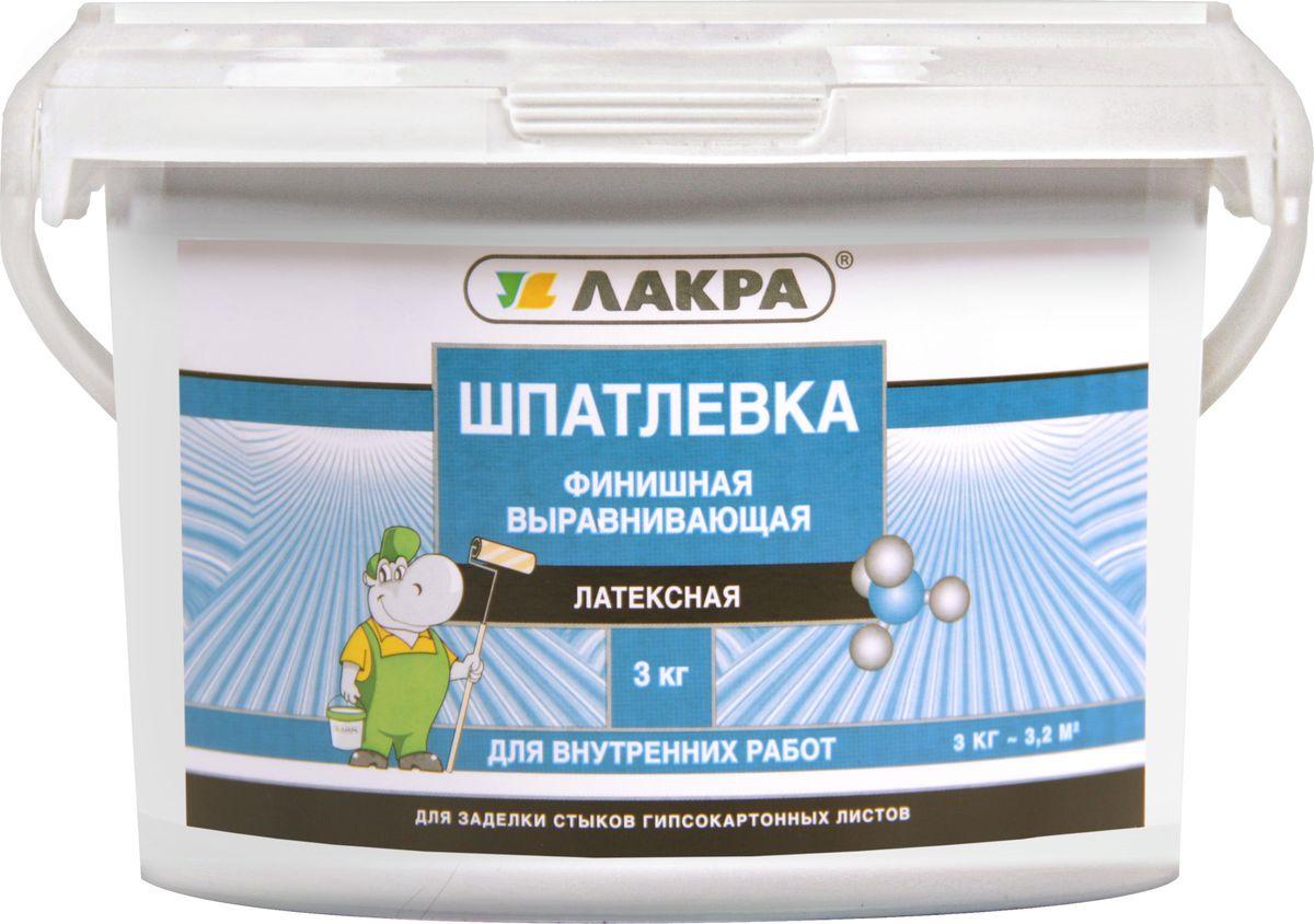 цена на Шпатлевка Лакра, латексная, финишная, выравнивающая, для гипсокартона, 4603292014104, белый, 3 кг